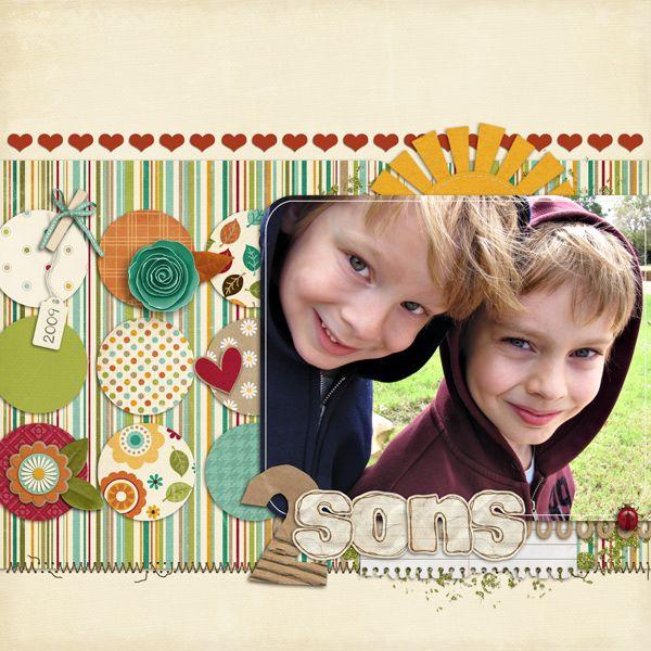 2 Sons - Scrapbook.com. great layout. #scrapbooking