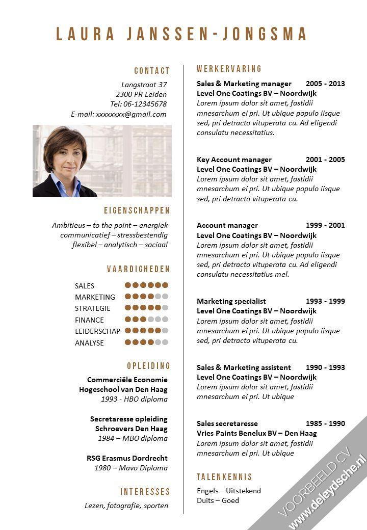 Opvallend CV met een zakelijke uitstraling. Dit CV is ook als sjabloon verkrijgbaar. Kijk op www.deleydsche.nl om zelf aan de slag te gaan met dit CV.