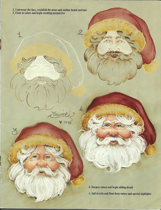 How to paint a Santa face.