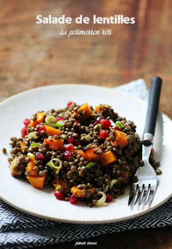 salade de lentilles au potimarron rôti - lentils salad with roasted pumpkin