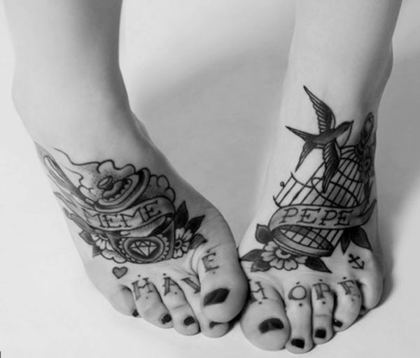 Swallow tattoo on foot - 50 Lovely Swallow Tattoos  <3 <3