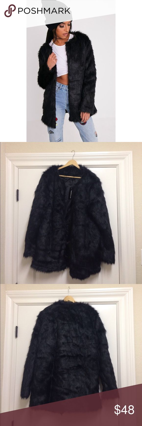 NWT BLACK FAUX FUR COAT BLACK FAUX FUR COAT - GET WINTER GLAM IN THIS FAUX FUR COAT WITH HOOK AND EYE FASTENING AND LONG LINE LENGTH. STYLE IT OVER A CUTE DRESS AND HEELS FOR THE ULTIMATE EVENING LOOK. APPROX. 32 INCHES LONG / SIZE UK 14 = US SIZE 10 / L Jackets & Coats