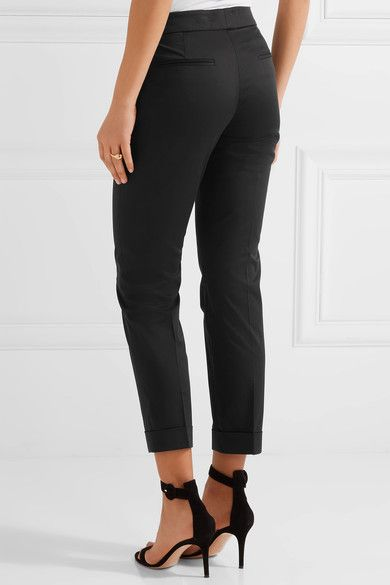 Etro - Sigaretta Cropped Stretch-piqué Straight-leg Pants - Black - IT48