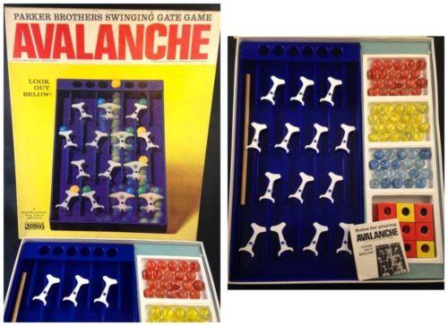 Original-Avalanche-Game-Parker-Bros-1960s-Complete-Box-Vintage-Cat-Eye-Marbles