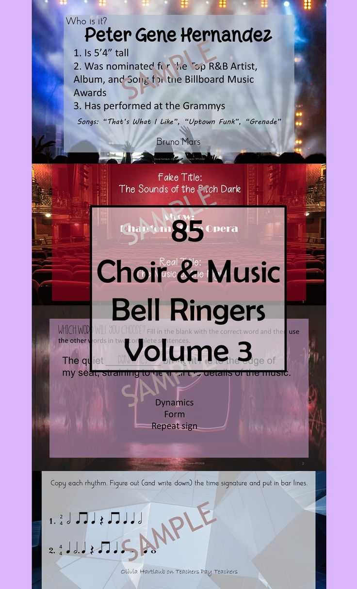 Volume 3! Choir and Music Class 'Do Nows', 'Bell Ringers', 'Daily Board Work' – call them what you want but these beginning of class activities will keep your students busy. Volume 3 includes rhythm practice, music vocabulary application, favorites from musical theatre, and students are challenged to identify some popular artists by their real name.