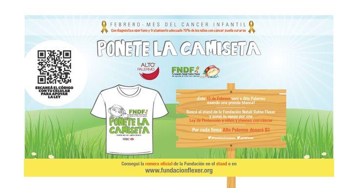 http://ift.tt/2kLTPRP http://ift.tt/2lHGuaL  El 15 de febrero en conmemoración del Día Internacional de Cáncer Infantil IRSA Propiedades Comerciales y la Fundación Natalí Dafne Flexer de ayuda al niño con cáncer llevarán adelante la 6ª edición de la campaña Ponete la camiseta. Ese día se invita al público a vestir una prenda blanca como símbolo de apoyo a los chicos y acercarse al stand en Alto Palermo de 10 a 22 hs donde se realizará la convocatoria central de la acción con distintas…