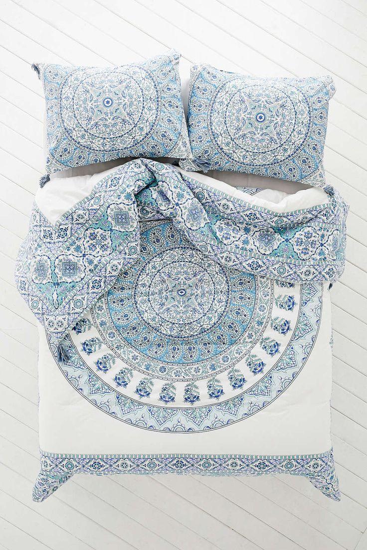 draps lit housse couette mandala medaillon bleu ethnique