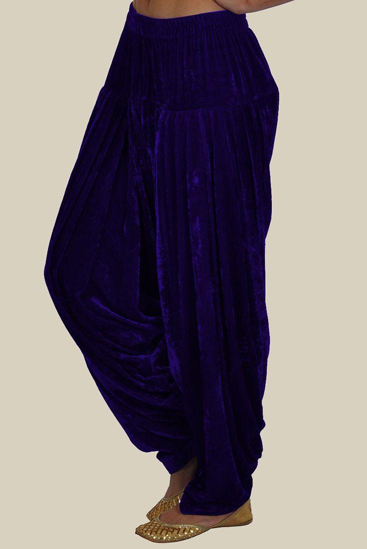 Electric Blue Pure Velvet-Silk Shahi Patiala ( Full Patiala) Salwar Pants