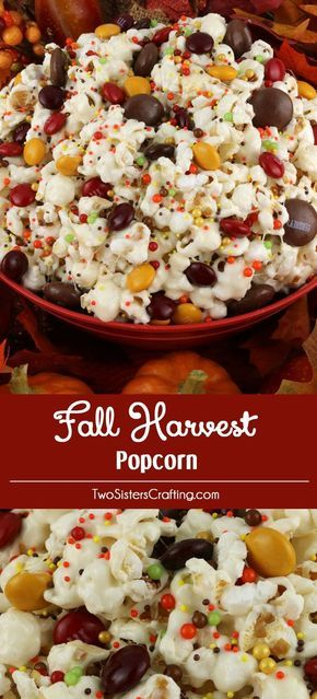 Fall Harvest Popcorn - sweet and salty popcorn, covered with marshmallows and beautiful Harvest Blend M&M's just for fun! A great popcorn treat that is so easy to make! It would be a great Thanksgiving Party Food or a Fall movie night dessert! Pin this delicious Thanksgiving Dessert Ideas and follow us for more fun Fall Food ideas.