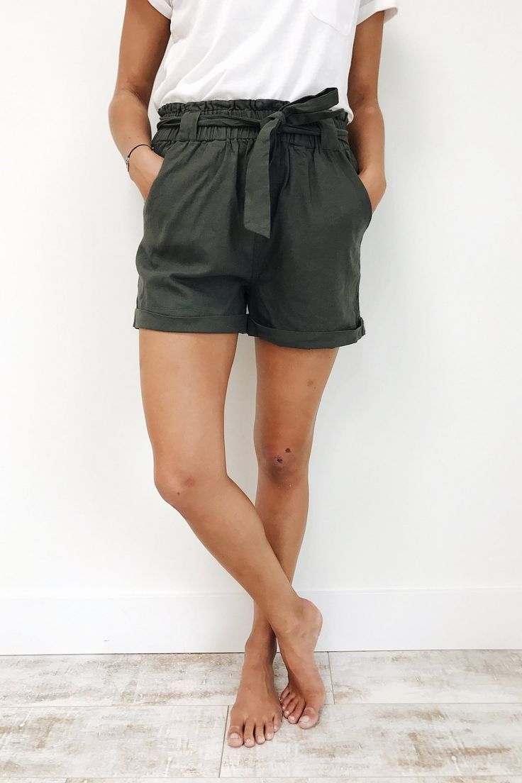 Olive Linen Beach Short with Ribbon Tie + Pockets | ROOLEE