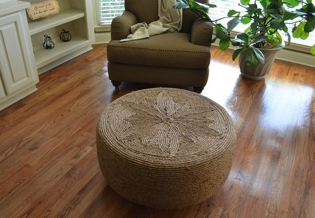 Although it looks like it came directly out of a high-end home decor catalog, this rope-covered DIY ottoman owes its existence to a repurposed rubber tire. The project requires no special skills or materials—only sisal cord, strong adhesive, and a tire in whatever diameter you have available that's appropriately sized for your space.