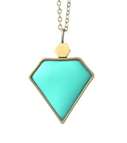 Peacock Blue Diamond Necklace  www.cloudninecreative.co.nz