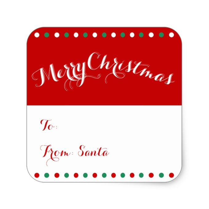 Personalized red white square christmas gift tags