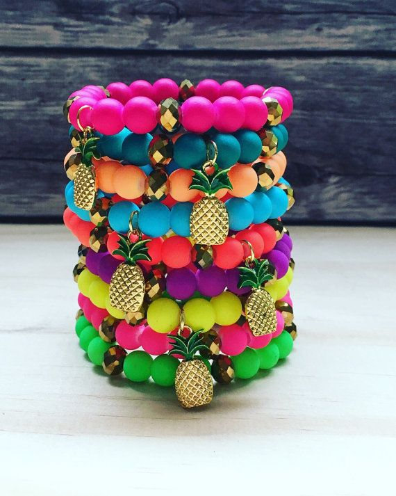 Neon Pineapple Bracelets/ Summer Jewelry/ Stackable Bracelets/ Pineapple Charm Bracelet