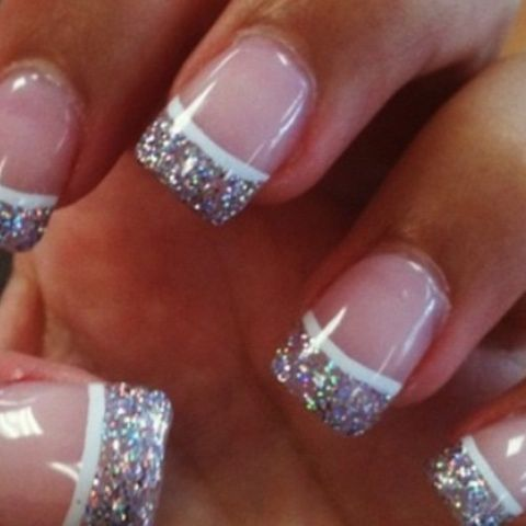 French tips - sparkles with a white line to separate it!