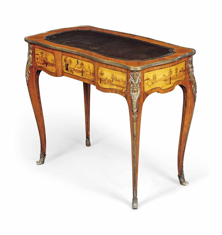 A LOUIS XV GILT-LACQUERED-BRONZE-MOUNTED TULIPWOOD, FRUITWOOD AND MARQUETRY TABLE A ECRIRE -  CIRCA 1770, THE TOP REPLACED IN THE 19TH CENTURY