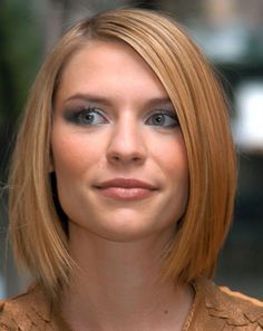 Claire Danes' cute glossy straight bob hairstyle
