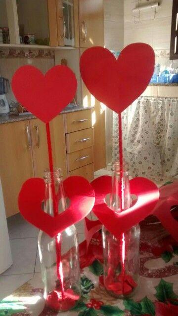 Centro de mesa Garrafas decoradas | Decoração de festa ...