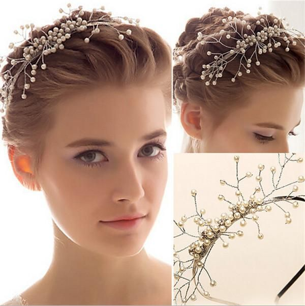 2015 Bridal Fascinators Vintage White Pearls Crystal Wedding Hair Pieces Headbands In Stock Bohemian Wedding Jewelry Cheap from Marrysa,$53.62   DHgate.com