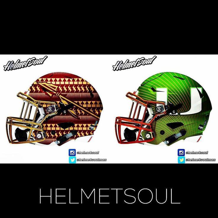 Been watchin @_fsufootball and @canesfootball rivalry since the 80's. #football #helmet #ncaafootball #canes #noles #rivalry #design #riddell #underarmour #nike #adidas #espn #fsu #theu #bcs #florida new designs added! #helmet #collegefootball #design #nfl #football #footballhelmet