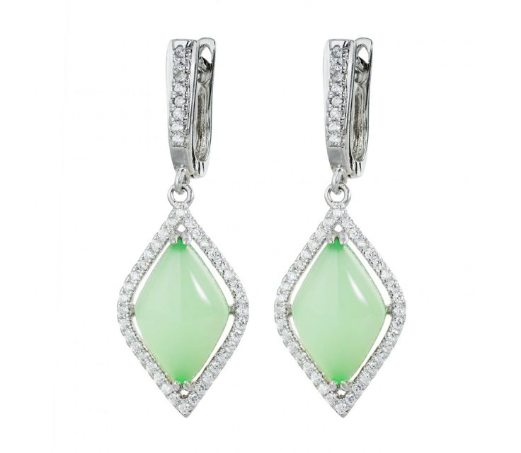Stříbrné visací náušnice se smaragdy a zirkony