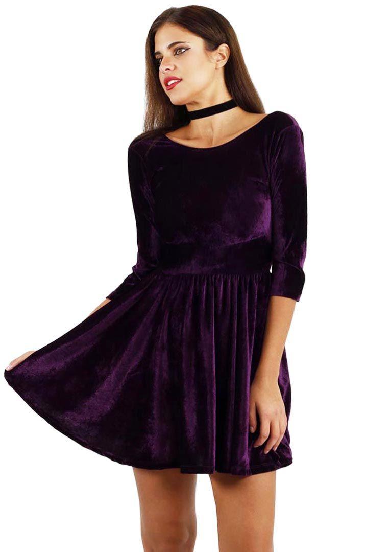 Premium purple velvet skater dress