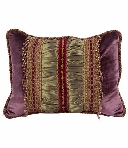 25% OFF July 8-12, 2016 Christmas in July! Decorative Pillow Purple and Green Velvet Rectangle with Beads 18x13
