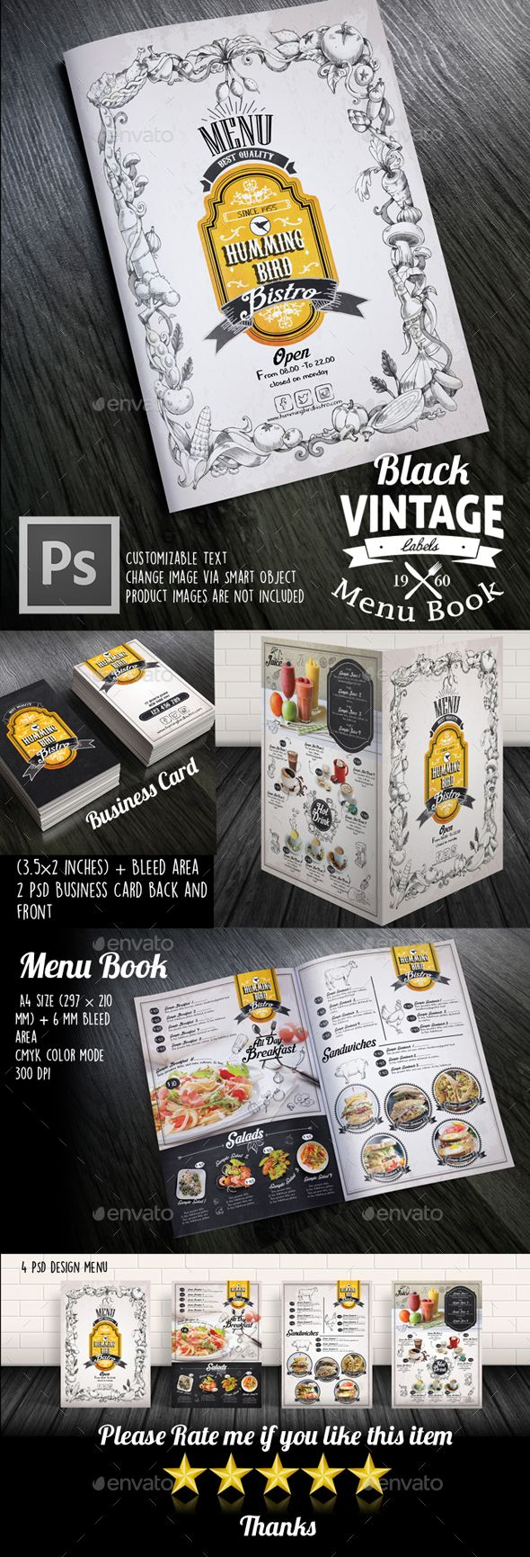 Black Vintage Menu Book  — PSD Template #delivery #bistro • Download ➝ https://graphicriver.net/item/black-vintage-menu-book/14044592?ref=pxcr