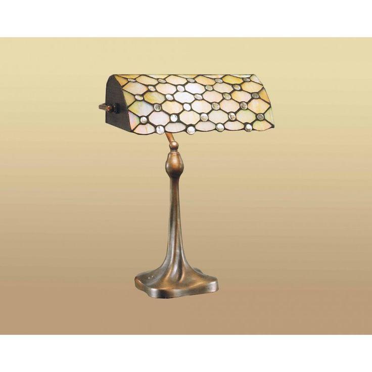 Lampada da Tavolo o da Scrivania stile Tiffany. Gialla con sfumature azzurre. Base in Resina