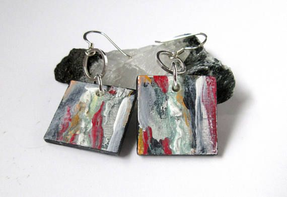 Square Wood Earrings Acrylic Painted Mini Art Earring Silver