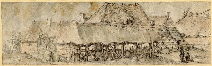 View of stables and thatched cottages, with two figures near the r foreground Pen and grey and brown ink, with watercolour Verso: The top of a tree Pen and brown ink, with brown wash, over black chalk