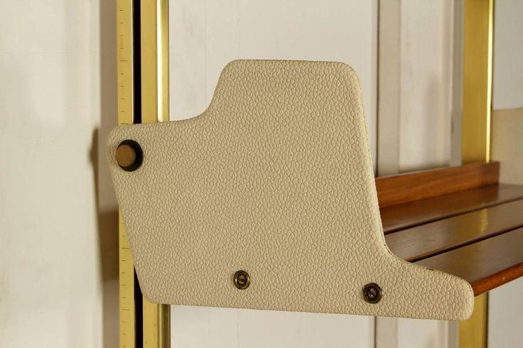 Wall Bookcase by Borsani Gold Anodised Aluminium Teak Plywood Plastic Vintage 7