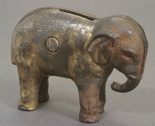 "McKinley-Theodore Roosevelt ""Prosperity"" Metal Elephant Coin Bank, ca. 1900: Coin Currencies Money, Photos, Metal Piggy, Piggy Banks, Elephant Coin, Iron Banks, Piggy Bank S"