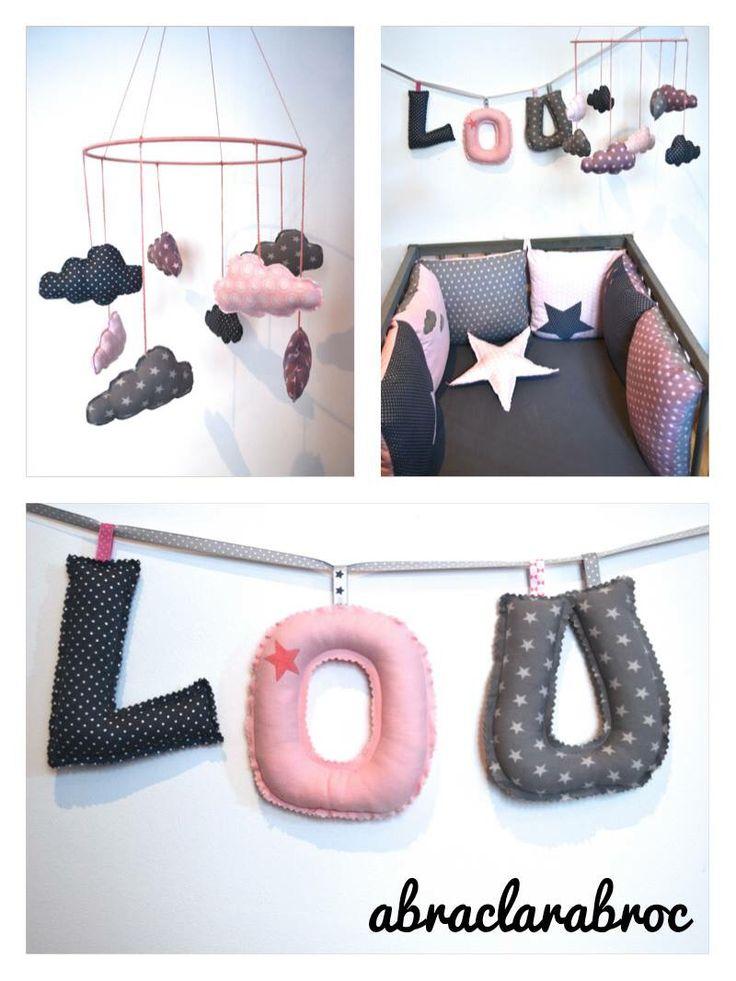 d coration b b fille rose poudr et gris anthracite. Black Bedroom Furniture Sets. Home Design Ideas