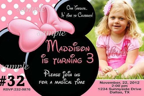 Editable Minnie Mouse Birthday Invitations
