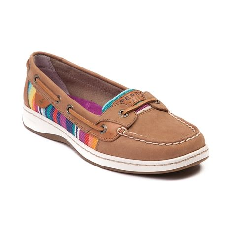 Shop for Womens Sperry Top-Sider Angelfish Boat Shoe in Tan at Journeys Shoes. Shop today for the hottest brands in mens shoes and womens shoes at Journeys.com.Classic Angelfish skimmer from Sperry, featuring a leather upper with Mexican-inspired serape blanket side and tongue accents, top stitching on toe, and leather laces. Available for shipment in February