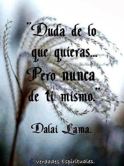 """""""Duda de lo que quieras... pero NUNCA de ti mismo."""" #frases #citas #dalailama"""