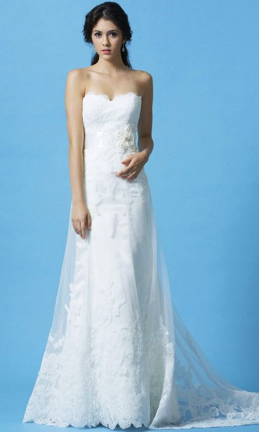 Eden Bridal #GL024 Strapless gown in Royal Duchess Satin with Lace overlay and scalloped sweetheart neckline. The ribbon belt and handcrafted flowers accent the natural waist and finished with a chapel length train. The belt can also be ordered separately.