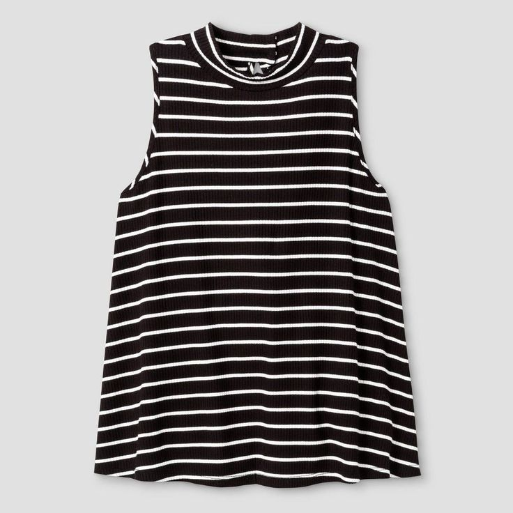 Girls' Ribbed Mock Neck Tank Top Stripe Art Class - Black/White XL, Girl's