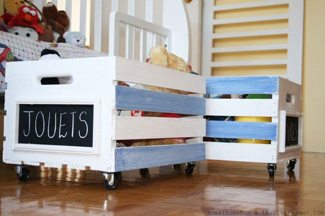 Learn how to make crates on wheels with this great tutorial, perfect for toy storage. Simple DIY project perfect for any room in your home.