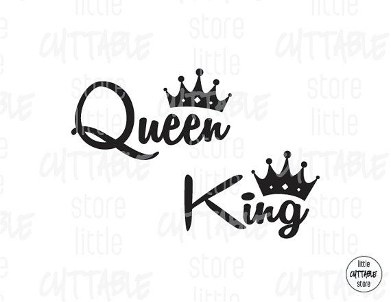 King And Queen Tattoo Font: Queen King Crown Cuttable Design File SVG EPS By