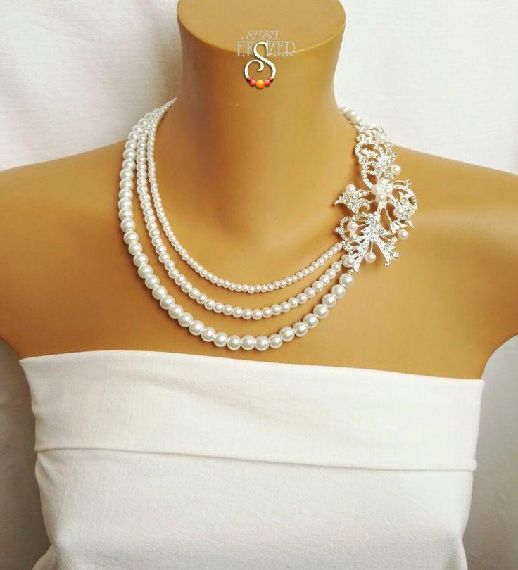 Menyasszonyi, esküvői ékszer, bridal necklace, wedding jeeelry