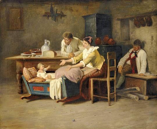 Munkácsy Mihály (1844-1900) - Paraszt interieur