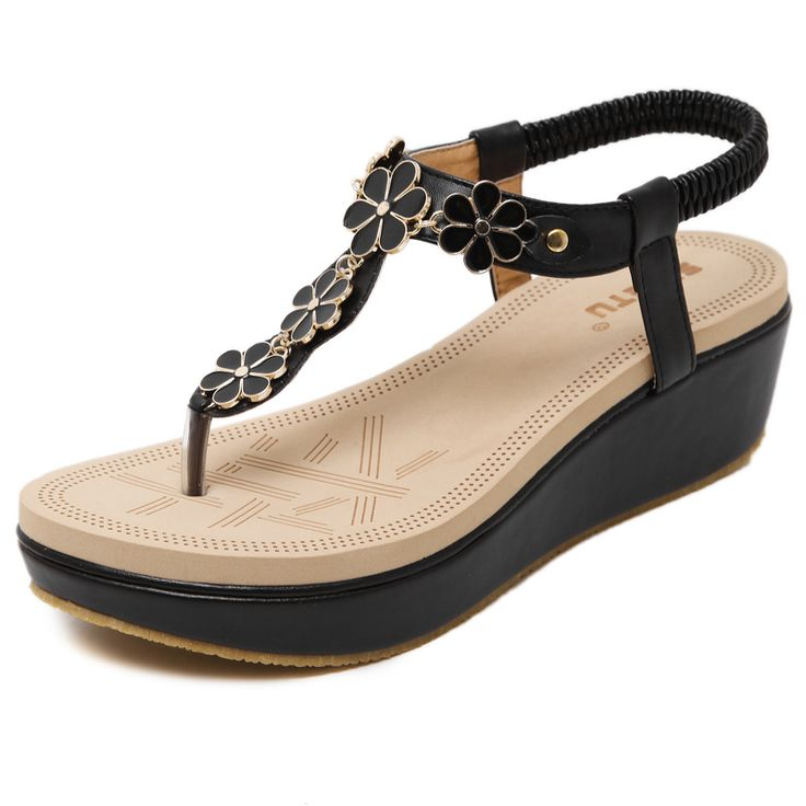 2017 summer new women's sandals fashion leisure buckle elastic wedge with women shoes sandals toe large size beach sandals 35 40