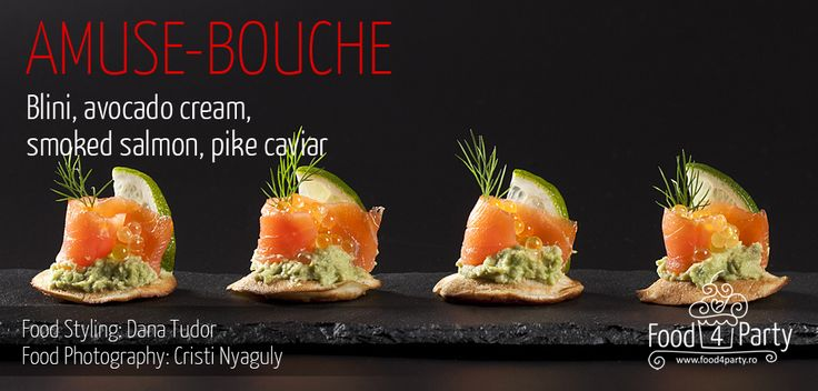 Blini avocado salmon pike caviar