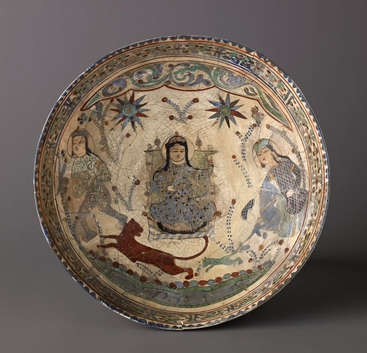 "Bowl, Minai'i (""enameled"") ware. Date: late 12th–early 13th century. Culture: Iranian. Medium: Minai'i ware. Fritware, stain-and overglaze-painted, and gilded."
