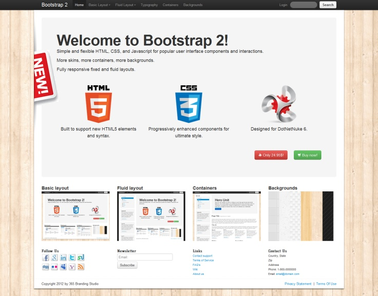 Bootstrap 2 / Brand new HTML5