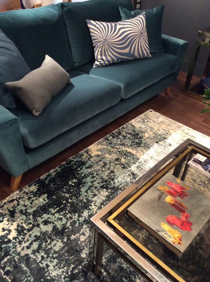 The G Plan Vintage Sixty Six Large Sofa In Matt Velvet Teal On Show At