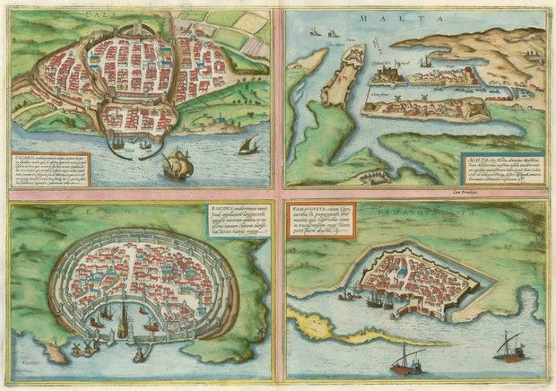 Antique map with views of Cagliari, Malta, Rhodos and Famagusta | Sanderus Antique Maps