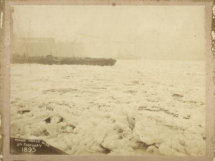 The frozen River Thames; 1895